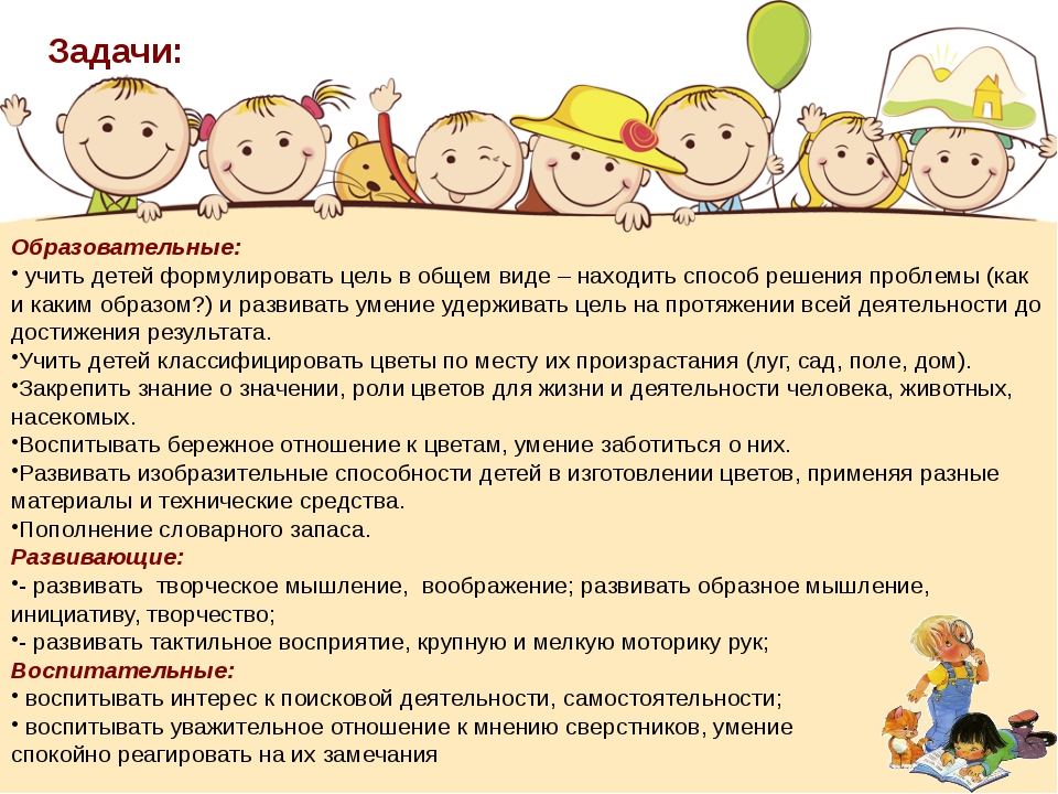 Образовательные: учить детей формулировать цель в общем виде – находить спос...