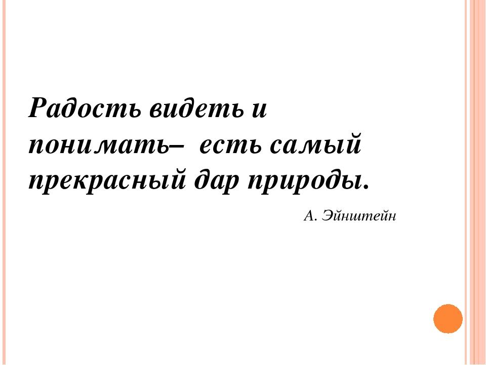 Радость видеть и понимать– есть самый прекрасный дар природы. А. Эйнштейн
