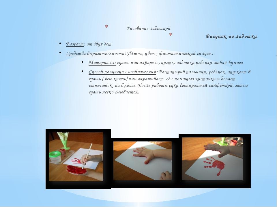 Рисование ладошкой Рисунок из ладошки Возраст: от двух дет Средства выразите...