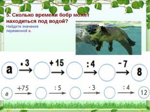 5. Сколько времени бобр может находиться под водой? Найдите значение переменн