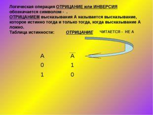 Логическая операция ОТРИЦАНИЕ или ИНВЕРСИЯ обозначается символом - . ОТРИЦАНИ