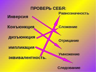 ПРОВЕРЬ СЕБЯ: Инверсия Конъюнкция дизъюнкция импликация эквивалентность. Равн