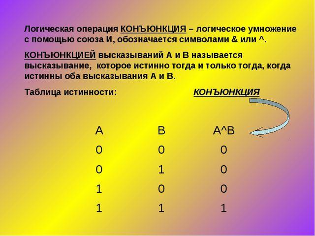 Логическая операция КОНЪЮНКЦИЯ – логическое умножение с помощью союза И, обоз...