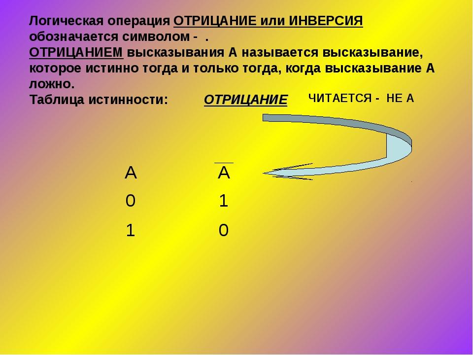 Логическая операция ОТРИЦАНИЕ или ИНВЕРСИЯ обозначается символом - . ОТРИЦАНИ...