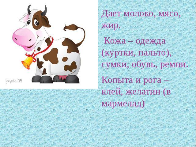 Дает молоко, мясо, жир. Кожа – одежда (куртки, пальто), сумки, обувь, ремни....