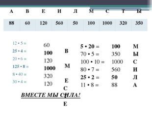12 • 5 = 25 • 4 = 20 • 6 = 125 • 8 = 8 • 40 = 30 • 4 = 5 • 20 = 70 • 5 = 100