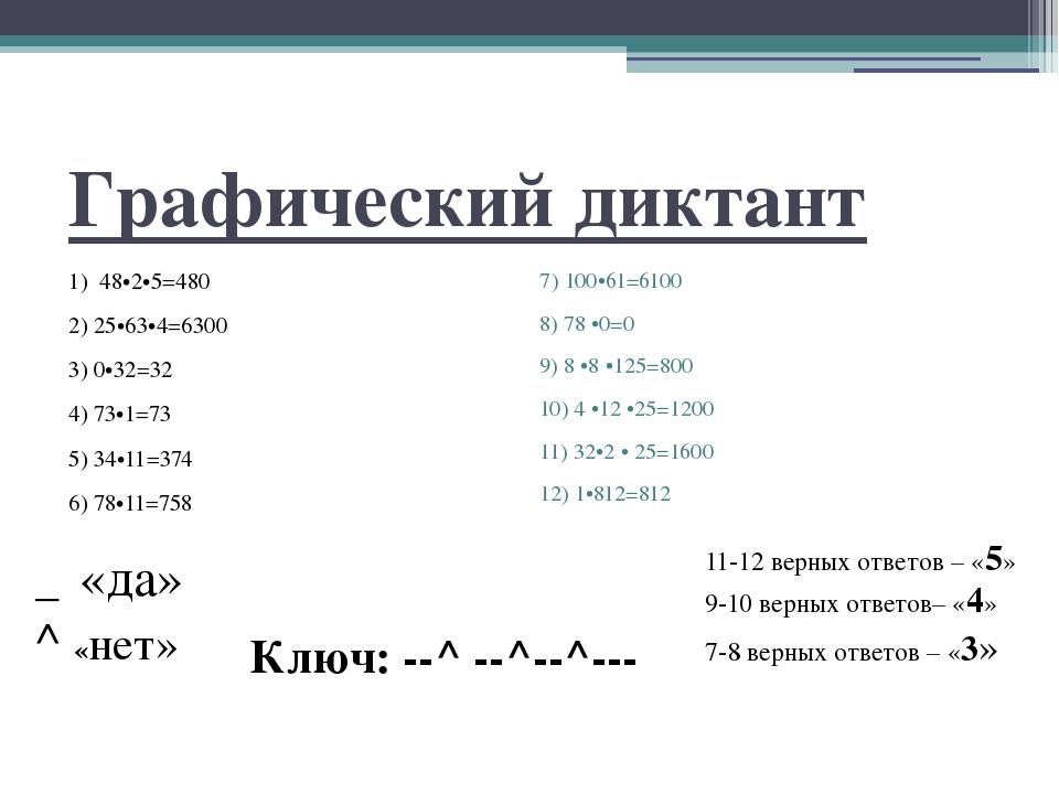 Графический диктант 1) 48•2•5=480 2) 25•63•4=6300 3) 0•32=32 4) 73•1=73 5) 34...