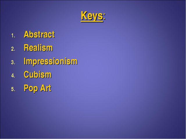 Keys: Abstract Realism Impressionism Cubism Pop Art