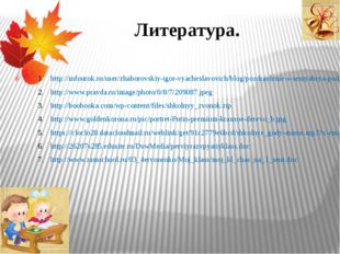 Литература. http://infourok.ru/user/zhaborovskiy-igor-vyacheslavovich/blog/po