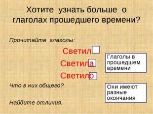 Прочитайте глаголы: Светил Светила Светило Что в них общего? Найдите отличия.