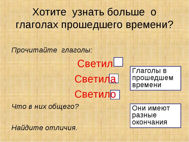 Прочитайте глаголы: Светил Светила Светило Что в них общего? Найдите отличия....