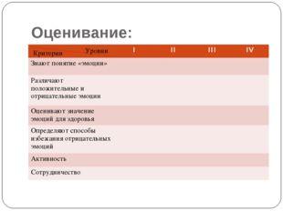 Оценивание: Критерии Уровни IIIIIIIV Знают понятие «эмоции» Различают