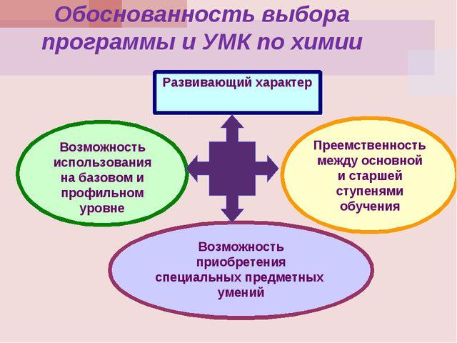 Обоснованность выбора программы и УМК по химии Развивающий характер Возможнос...