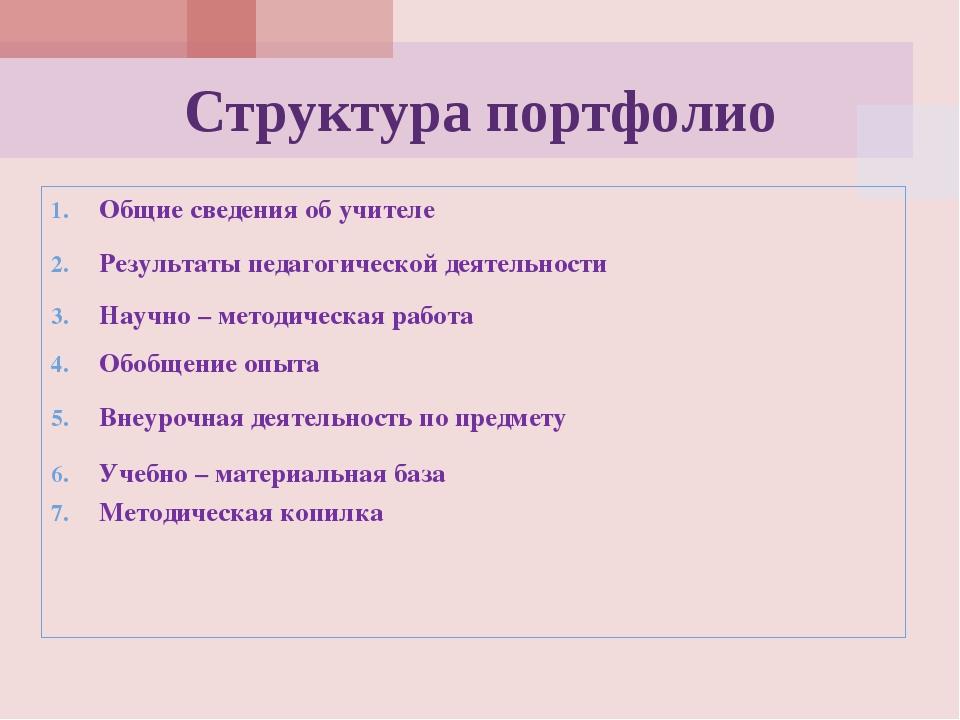 Структура портфолио Общие сведения об учителе Результаты педагогической деяте...