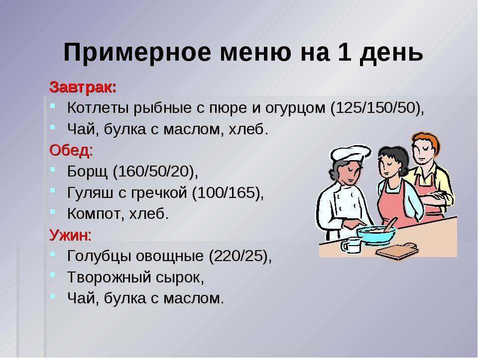Примерное меню на 1 день Завтрак: Котлеты рыбные с пюре и огурцом (125/150/50...