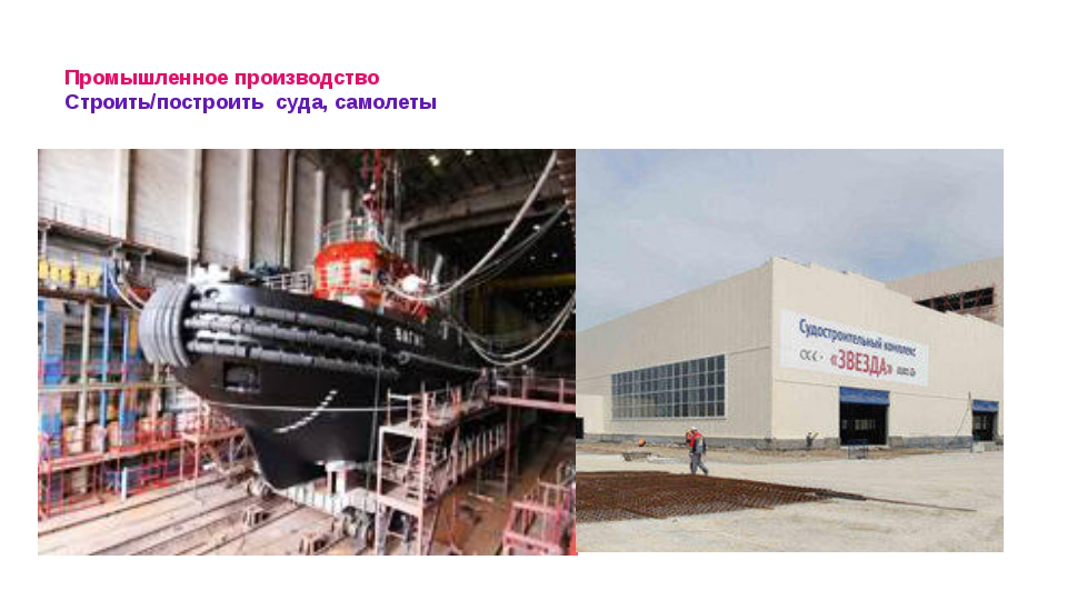 Промышленное производство Строить/построить суда, самолеты