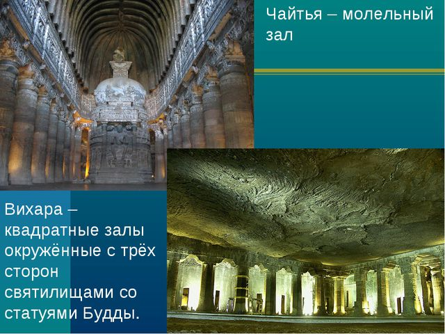 Чайтья – молельный зал Вихара – квадратные залы окружённые с трёх сторон свят...