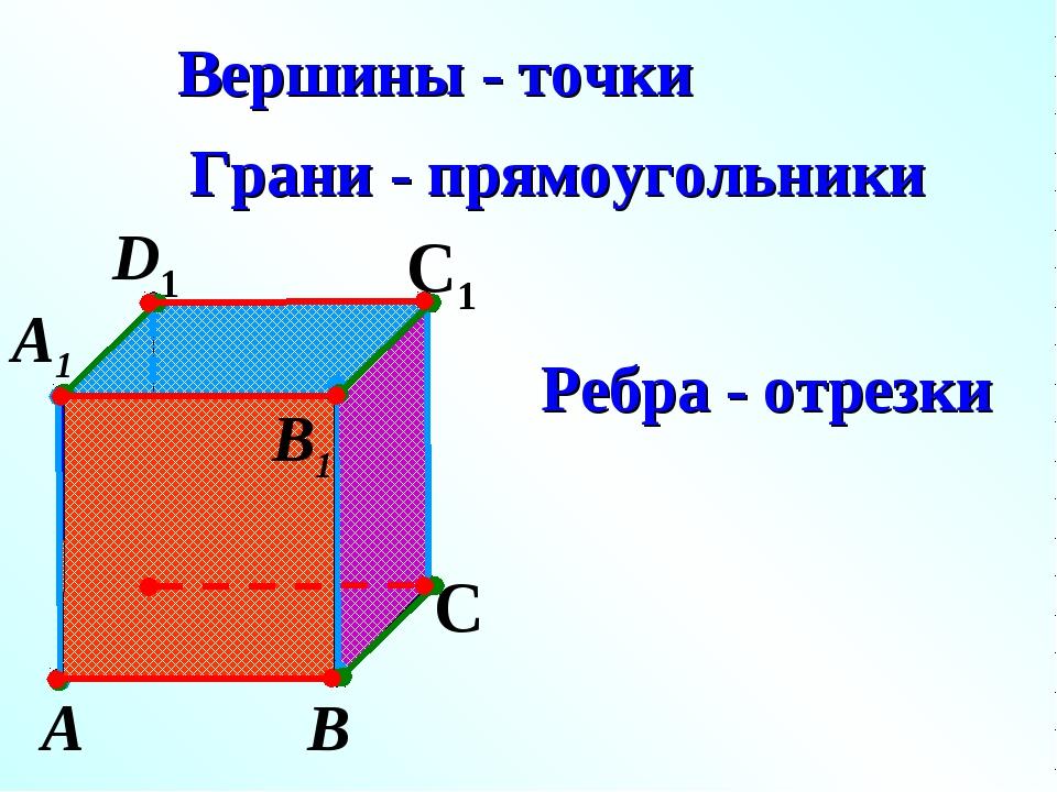 А В С D1 С1 Вершины - точки Грани - прямоугольники Ребра - отрезки А1 D В1