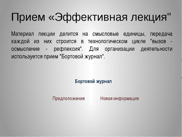 """Прием «Эффективная лекция"""" Материал лекции делится на смысловые единицы, пере..."""