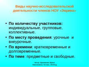 Автор: Щенникова Ирина Николаевна,г Кстово, 2014год Виды научно-исследователь
