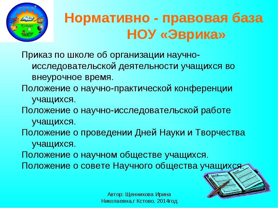 Автор: Щенникова Ирина Николаевна,г Кстово, 2014год Нормативно - правовая баз...