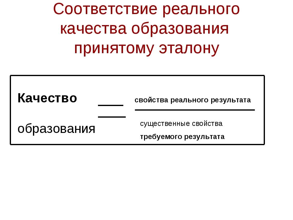 Соответствие реального качества образования принятому эталону Качествосвойс...