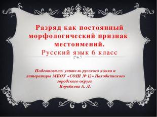 Разряд как постоянный морфологический признак местоимений. Русский язык 6 кла