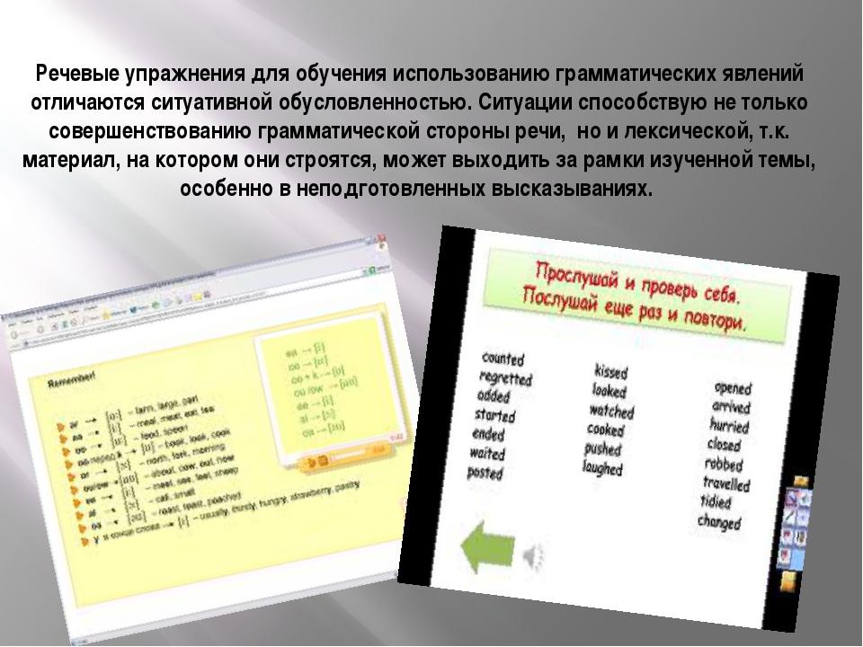 Речевые упражнения для обучения использованию грамматических явлений отличают...