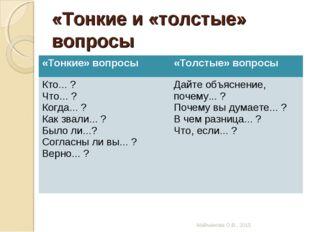 «Тонкие и «толстые» вопросы Майманова О.В., 2015 «Тонкие» вопросы«Толстые» в