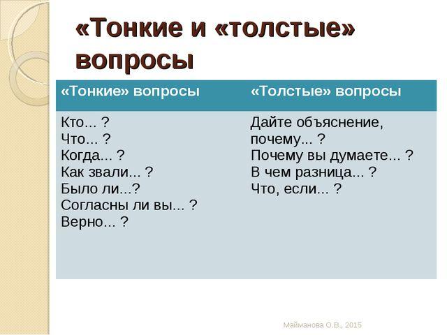 «Тонкие и «толстые» вопросы Майманова О.В., 2015 «Тонкие» вопросы«Толстые» в...