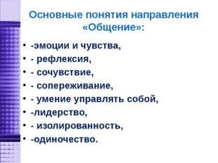 Основные понятия направления «Общение»: -эмоции и чувства, - рефлексия, - соч