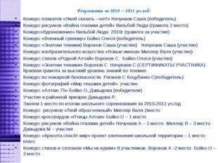 Результаты за 2010 – 2011 уч.год: Конкурс плакатов «Умей сказать - нет!» Нечу