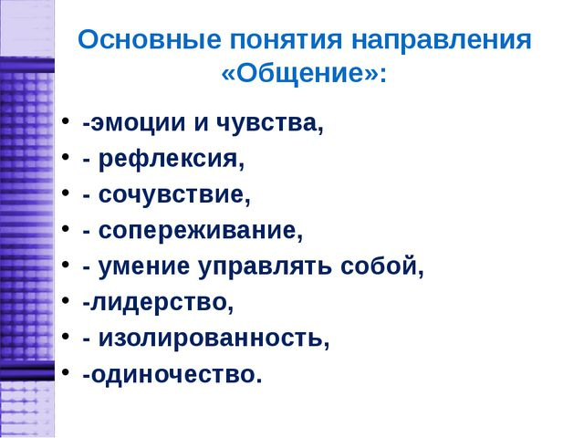 Основные понятия направления «Общение»: -эмоции и чувства, - рефлексия, - соч...