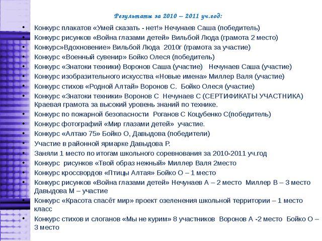 Результаты за 2010 – 2011 уч.год: Конкурс плакатов «Умей сказать - нет!» Нечу...