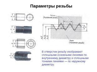 Параметры резьбы В отверстии резьбу изображают сплошными основными линиями по
