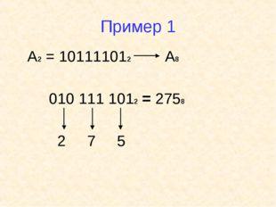 Пример 1 А2 = 101111012 А8 010 111 1012 = 2758 2 7 5