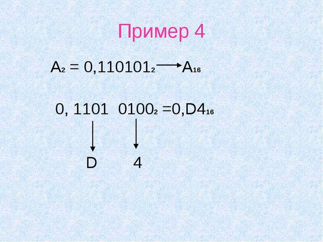 Пример 4 А2 = 0,1101012 А16 0, 1101 01002 =0,D416 D 4