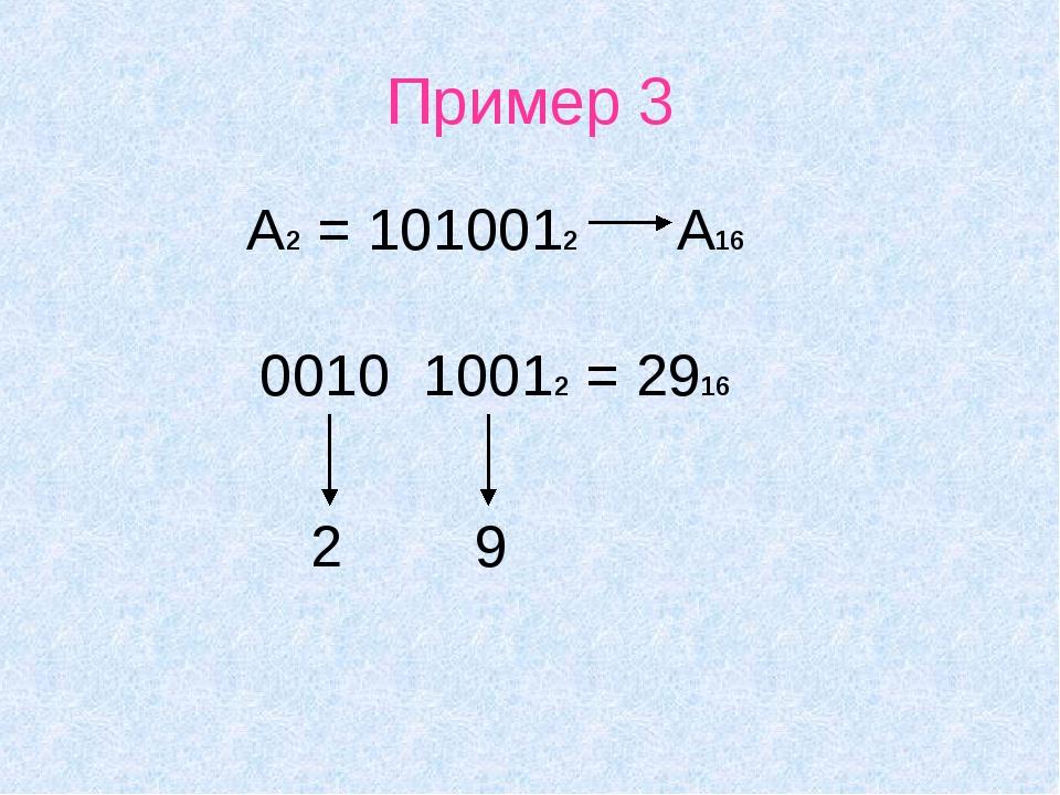Пример 3 А2 = 1010012 А16 0010 10012 = 2916 2 9