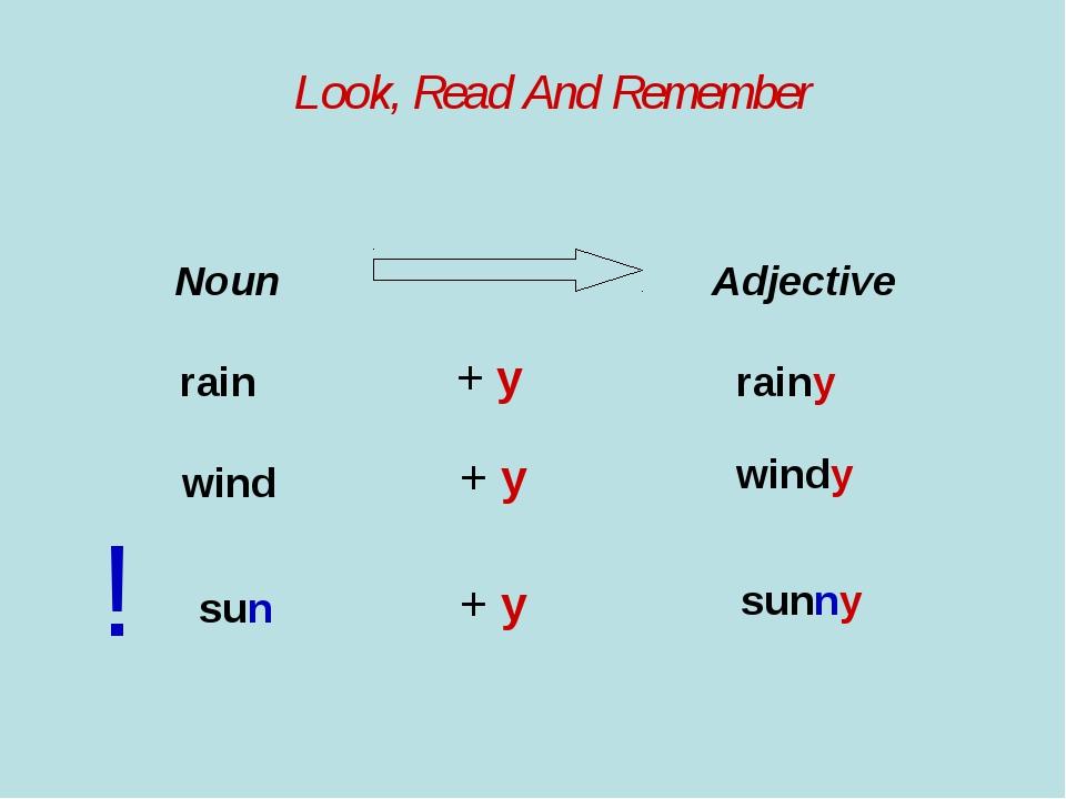 Look, Read And Remember Noun Adjective rain + y rainy wind + y windy ! sun +...
