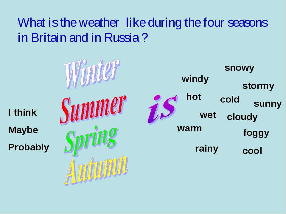 What is the weather like during the four seasons in Britain and in Russia ? I...