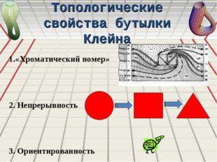 Топологические свойства бутылки Клейна 1.«Хроматический номер» 2. Непрерывнос