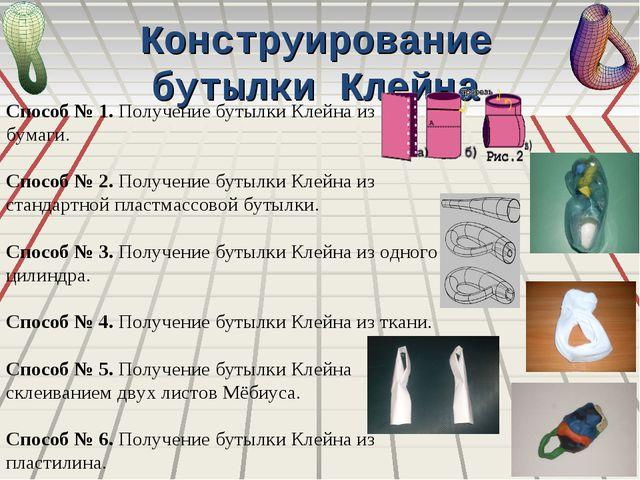 Конструирование бутылки Клейна Способ № 1. Получение бутылки Клейна из бумаги...