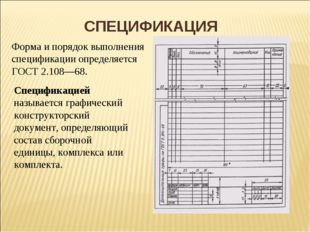 СПЕЦИФИКАЦИЯ Форма и порядок выполнения спецификации определяется ГОСТ 2.108—
