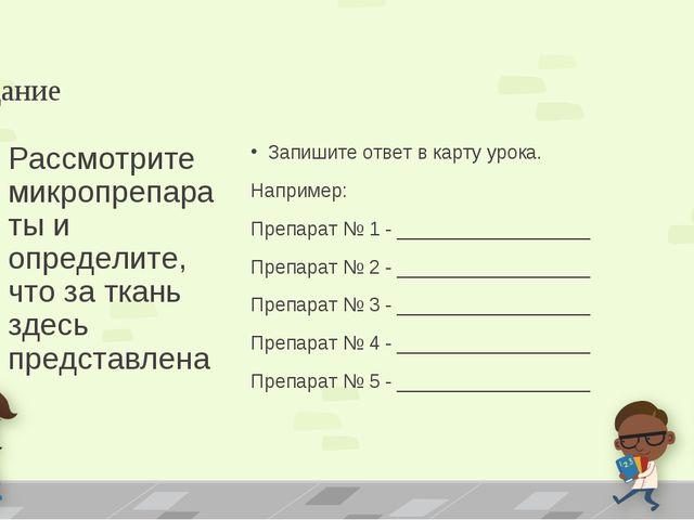 Задание Запишите ответ в карту урока. Например: Препарат № 1 - ______________...