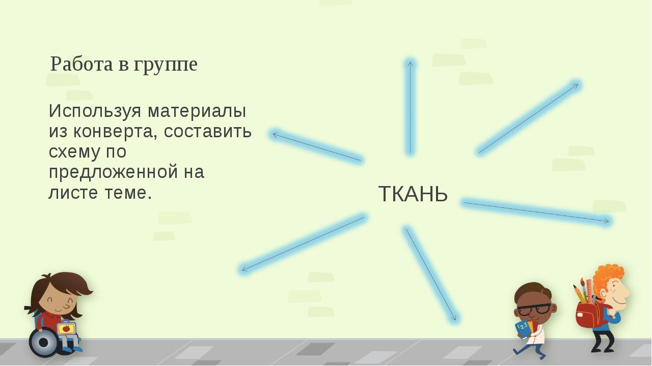 Работа в группе ТКАНЬ Используя материалы из конверта, составить схему по пре...