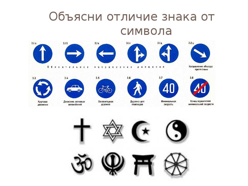 Объясни отличие знака от символа