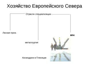 Хозяйство Европейского Севера Отрасли специализации Лесная пром. металлургия