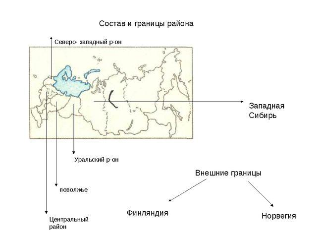 Состав и границы района Западная Сибирь Уральский р-он поволжье Центральный...