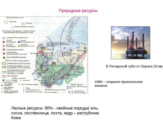 В Печорской губе от берега 50 км 1985г – открытие Архангельских алмазов Прир...