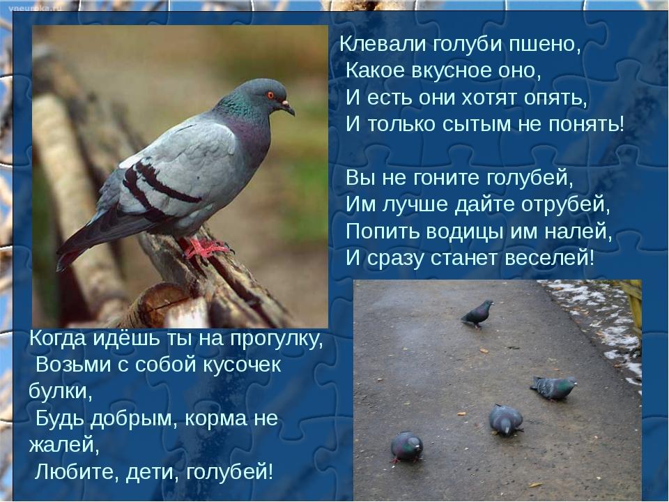 Клевали голуби пшено, Какое вкусное оно, И есть они хотят опять, И только сыт...